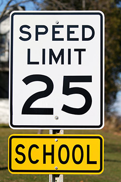Image of school zone speed limit sign